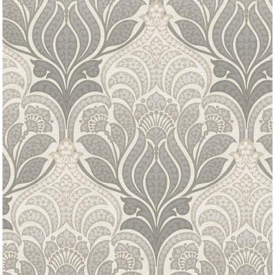 Twill Charcoal Damask Wallpaper Sample