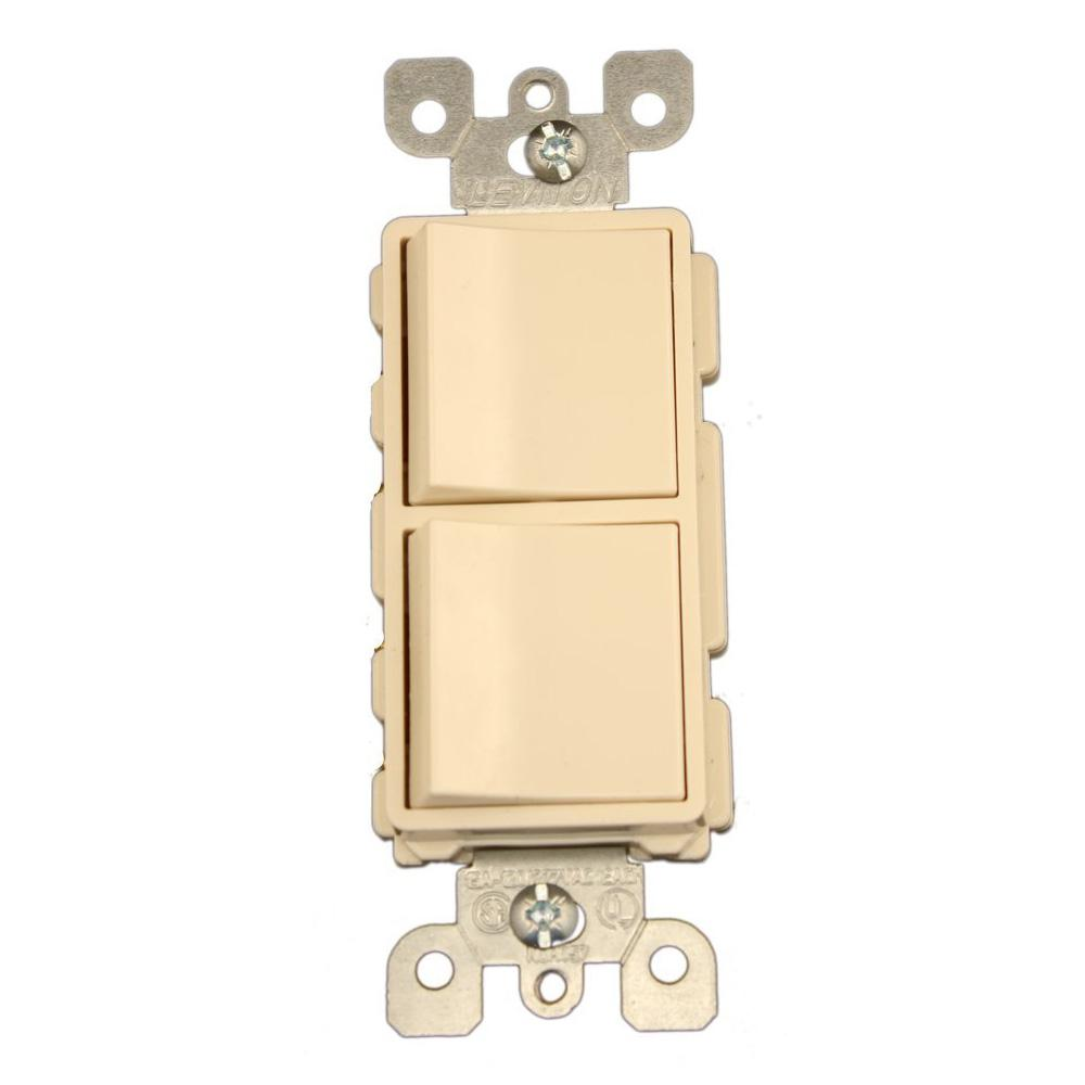 leviton decora 15 amp 3 way switch light almond r66 05603 2ts the 15 amp decora commercial grade combination two 3 way rocker switches light