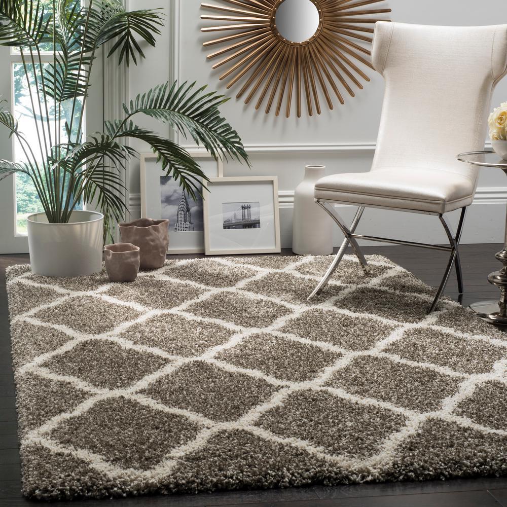 hudson shag grayivory 8 ft x 10 ft area rug