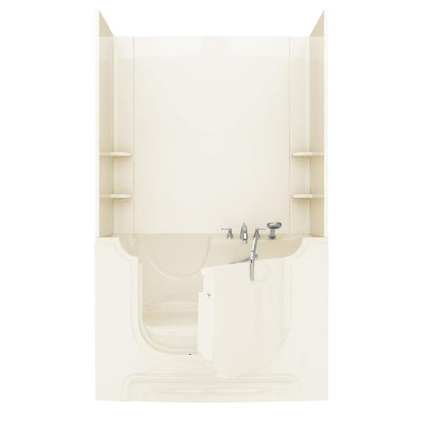 Rampart Wheelchair Accessible 5 ft. Walk-in Whirlpool Bathtub with Flat Easy Up Adhesive Wall Surround in Biscuit