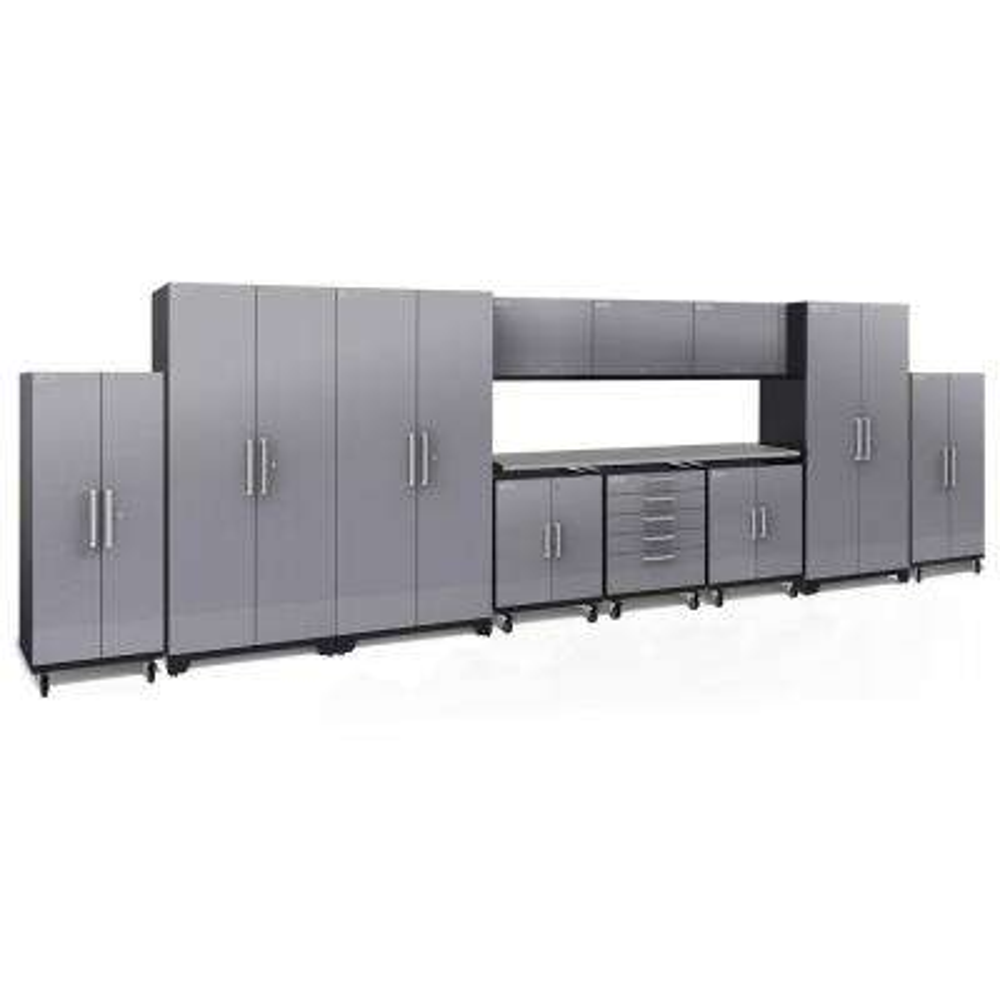 Performance Plus Diamond Plate 2.0 80 in. H x 253 in. W x 24 in. D Garage Cabinet Set in Silver (12-Piece)