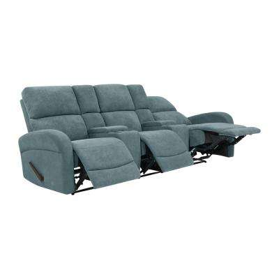 Medium Blue Chenille Recliner Sofa with Storage Console and USB Ports (3-Seat)