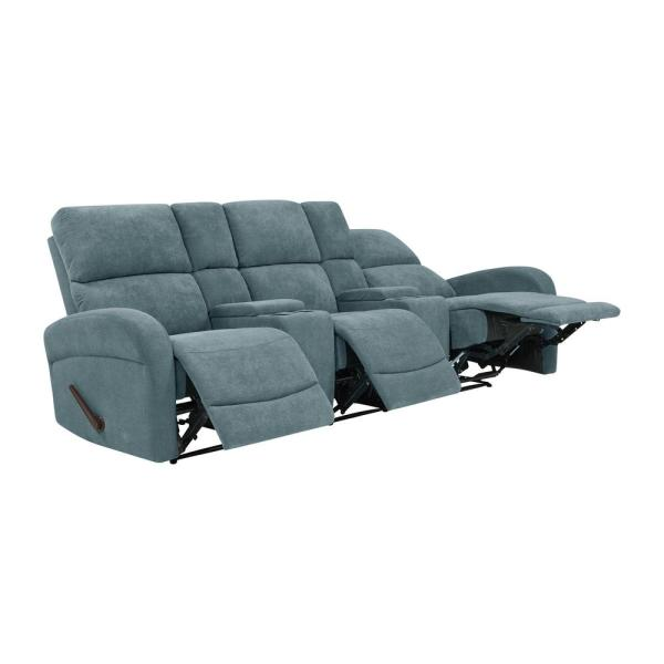 ProLounger Medium Blue Chenille Recliner Sofa with Storage Console ...