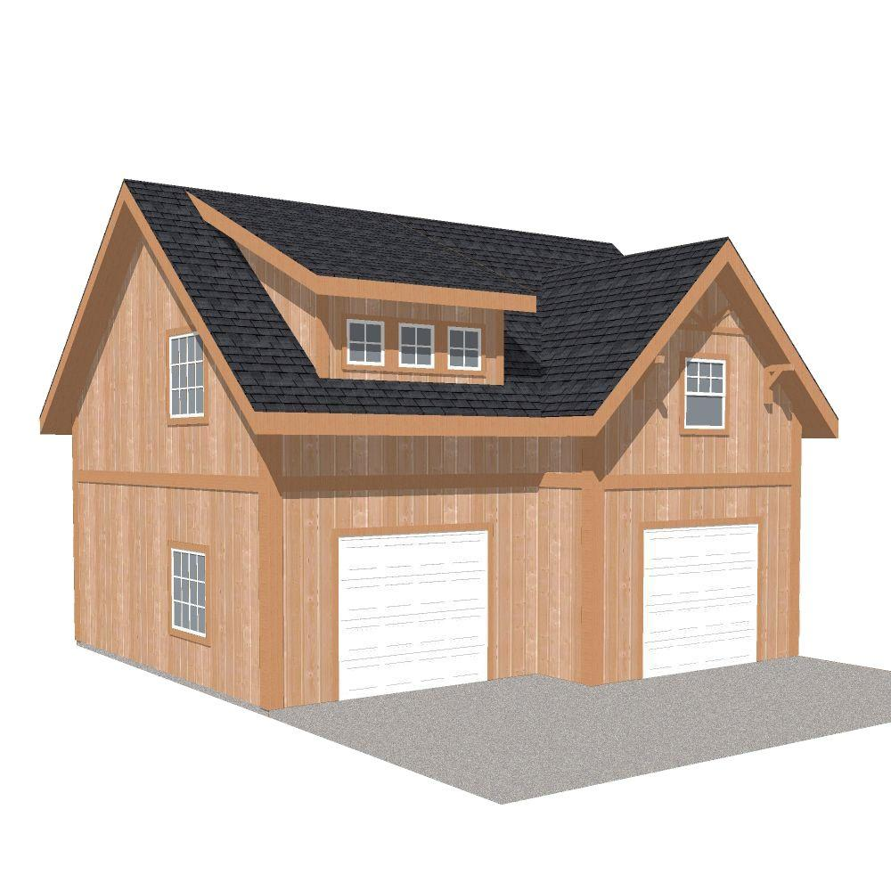 Barn Pros 2-Car 30 ft  x 28 ft  Engineered Permit-Ready Garage Kit with  Loft (Installation Not Included)