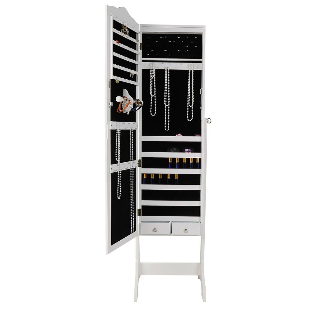 White Free Standing Jewelry Armoire Storage Cabinet 14 Led Lights For Necklaces Rings Earrings