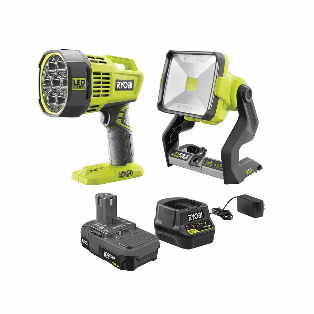 ONE+ 18V Cordless Hybrid LED Spot Light and Hybrid LED Work Light Kit with (1) 1.5 Ah Battery and Charger