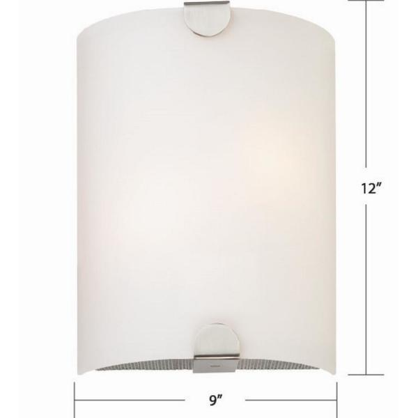 Volume Lighting 12 In L X 9 In W X 3 75 In D Brushed Nickel 1 Light Integrated Indoor Led Wall Sconce With Glass Half Cylinder Shade V6583 33 The Home Depot