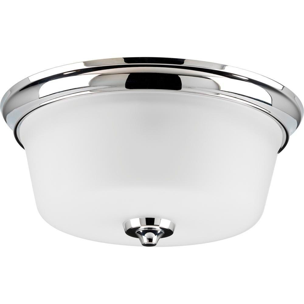 Progress Lighting Lahara Collection Chrome 2 Light Flushmount With Etched Glass P3836 15 The