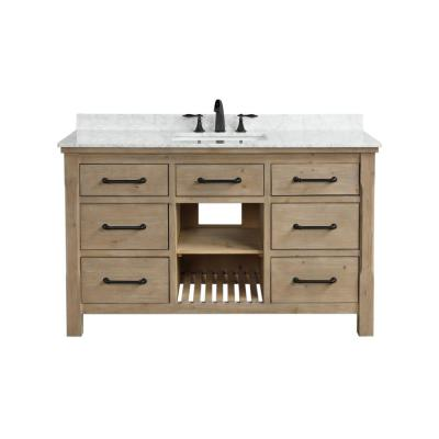Lauren 55 in. Single Bath Vanity in Weathered Fir with Marble Vanity Top in Carrara White with White Basin