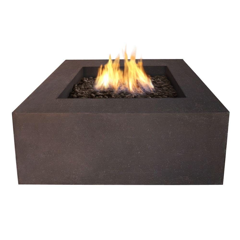 Real Flame Baltic 36 in. Square Natural Gas Outdoor Fire Pit in Kodiak Brown