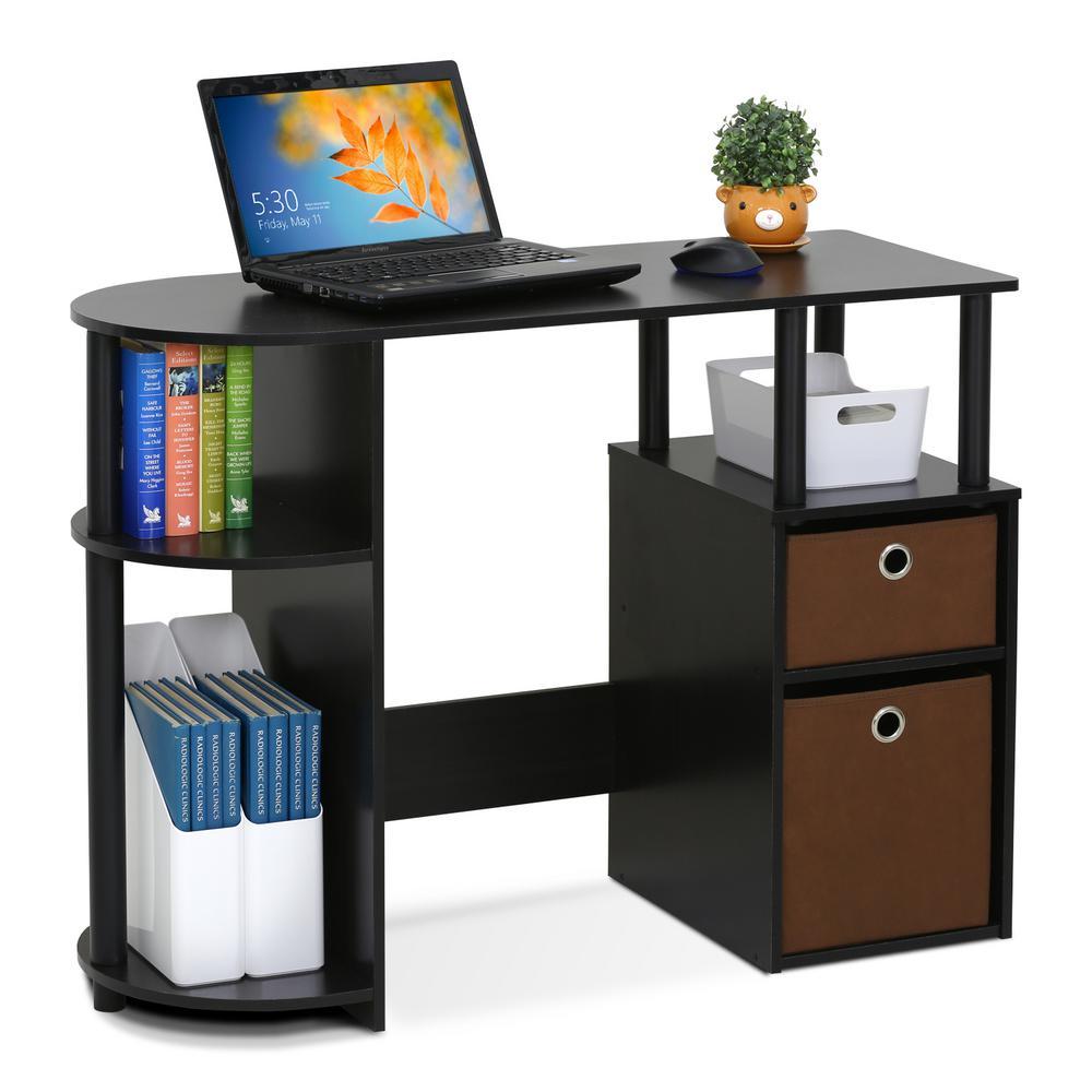 Deals on Furinno 39-in Rectangular Espresso 2 Drawer Computer Desk