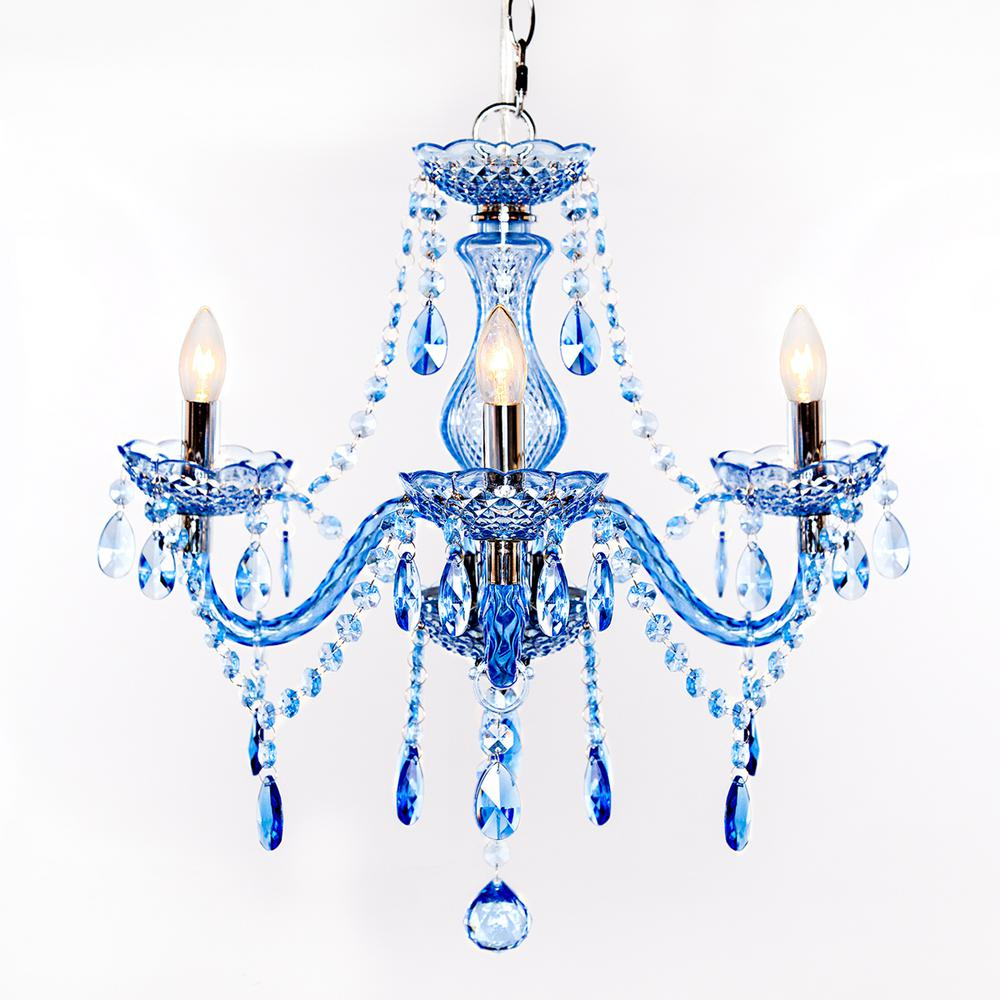 River of goods 3 light blue chandelier 13717 the home depot river of goods 3 light blue chandelier arubaitofo Images