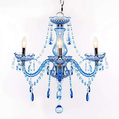 3-Light Blue Chandelier