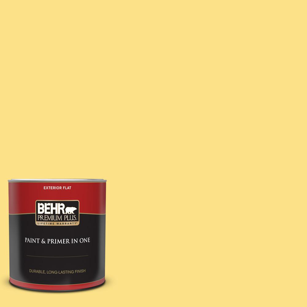 BEHR PREMIUM PLUS 1 qt  #380B-4 Daffodil Yellow Flat Exterior Paint and  Primer in One
