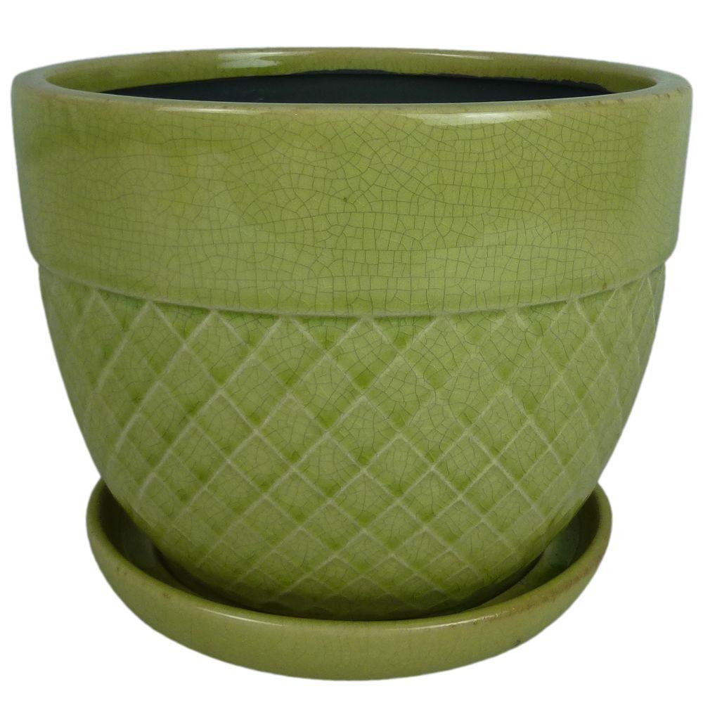 null 6 in. Dia. Green Ceramic Acorn Bell Pot