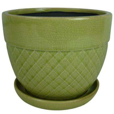 6 in Dia. Green Ceramic Acorn Bell Planter