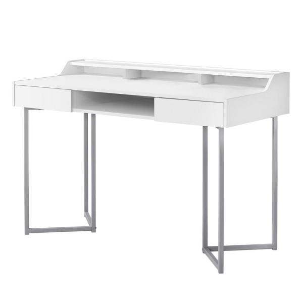 48 in. White Rectangular 2 -Drawer Writing Desk with Shelf