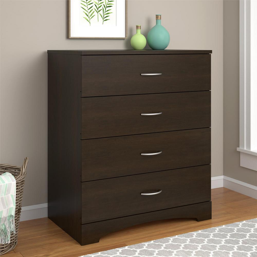 4 Drawer Dresser Chest Of Drawer Espresso Wood Storage Modern Clothes Cabinet