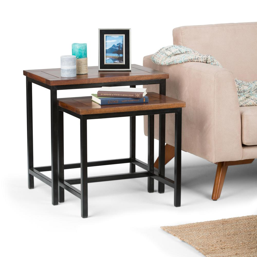 Simpli Home Skyler Dark Cognac Brown 2 Piece Nesting Side Table