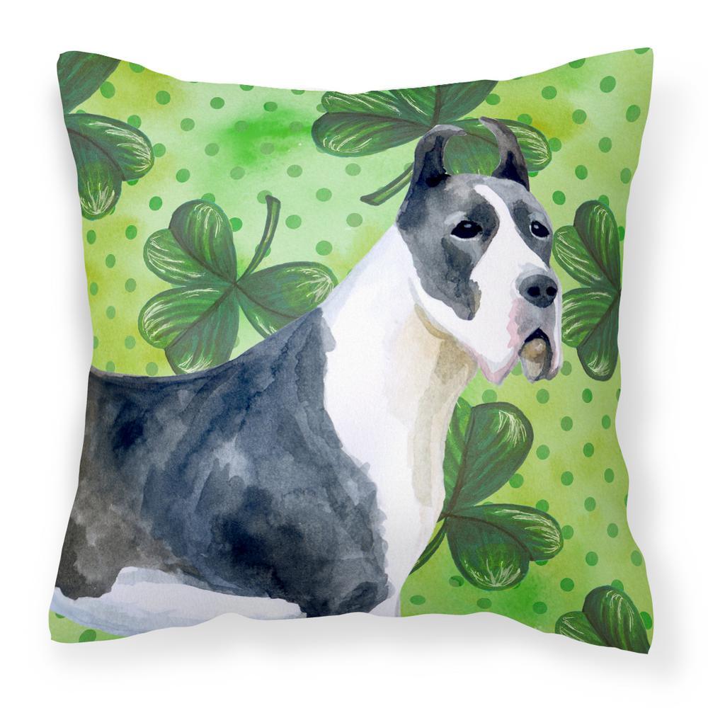 14 in. x 14 in. Multi-Color Lumbar Outdoor Throw Pillow Harlequin Great Dane St. Patrick's