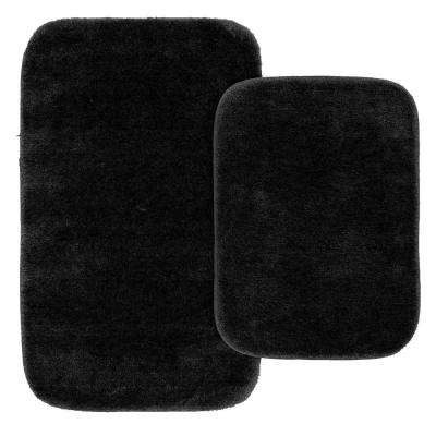 Traditional 2 Piece Washable Bathroom Rug Set in Black