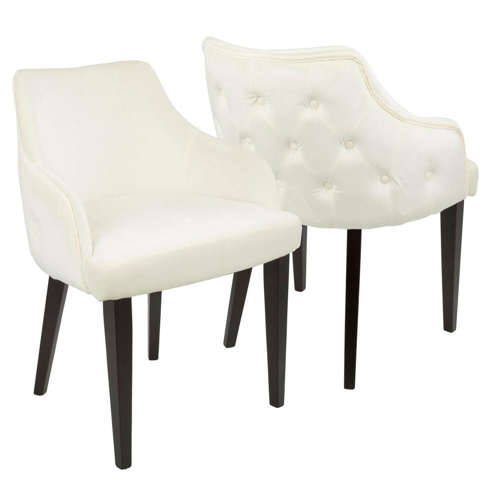 Lumisource Eliza Espresso And Cream Velvet Diamond Tufted Dining Chair Set Of 2