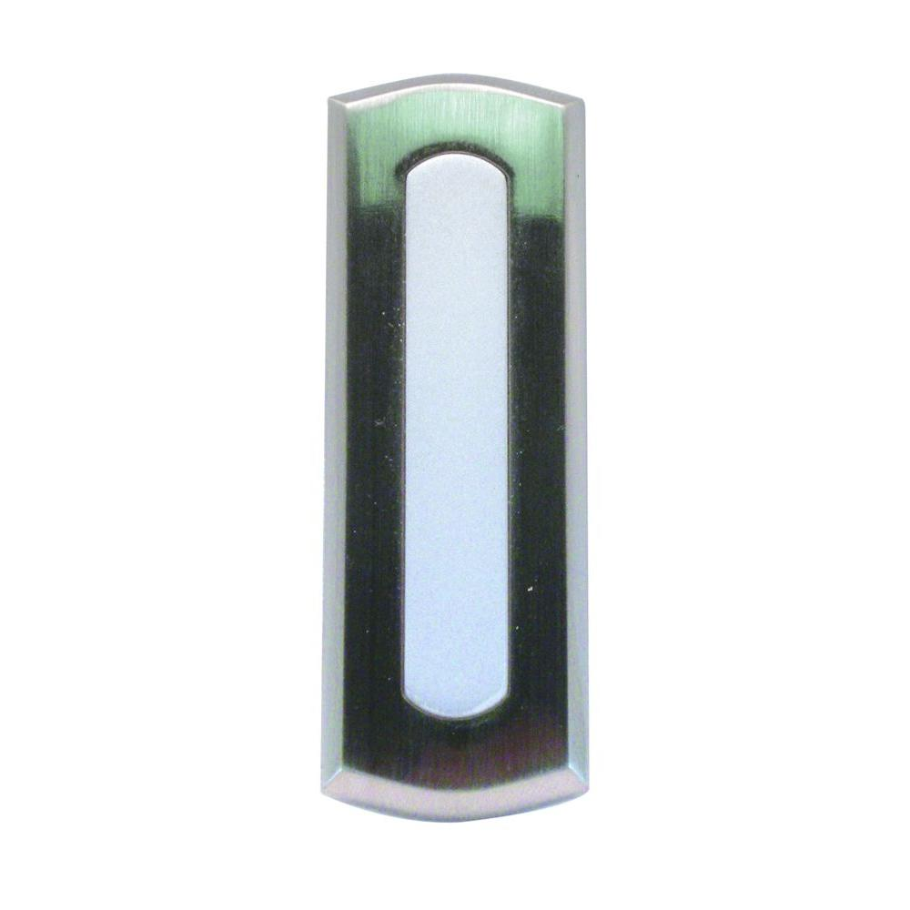 IQ America Wireless Battery Operated Doorbell Push Button, Colonial Style Satin Nickel