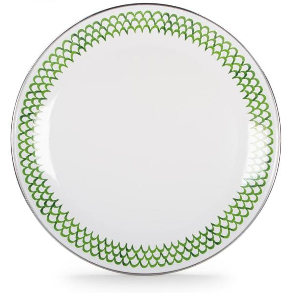 Golden Rabbit 12.5 in. Green Scallops Enamelware Round Charger Plate GS36