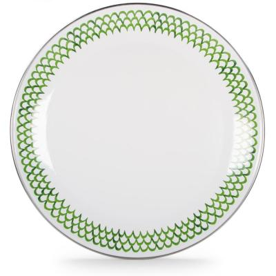 12.5 in. Green Scallops Enamelware Round Charger Plate Set of 2