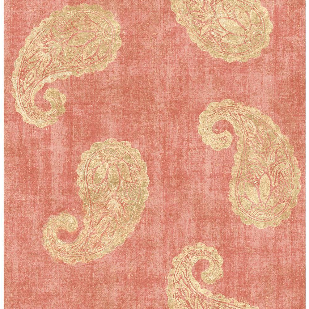 Kenneth James Kashmir Coral Paisley Wallpaper
