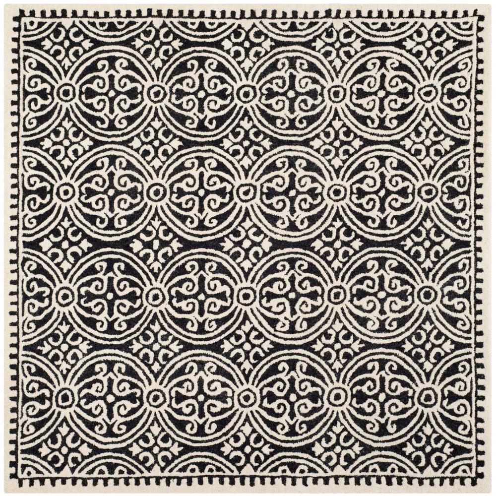 Cambridge Black/Ivory 4 ft. x 4 ft. Square Area Rug