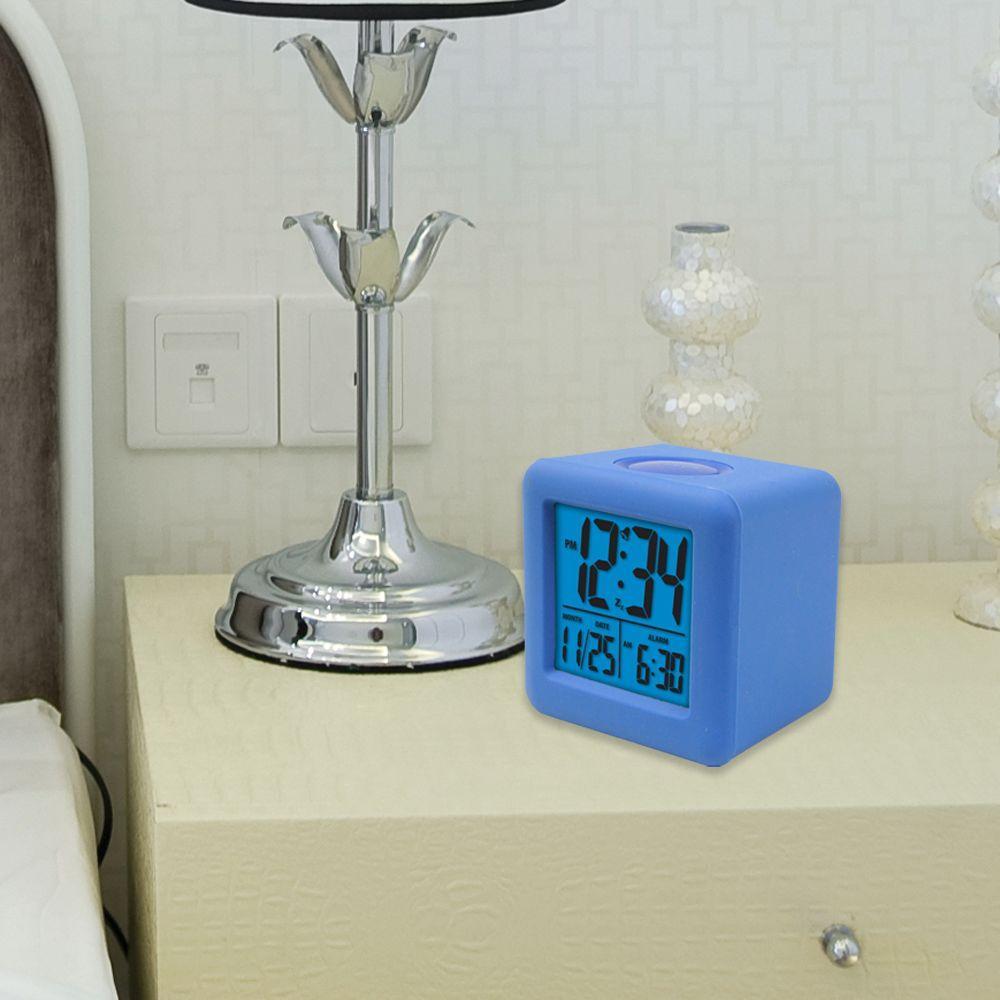 3-1/4 in. x 3-1/4 in. Soft Blue Cube LCD Digital Alarm Clock