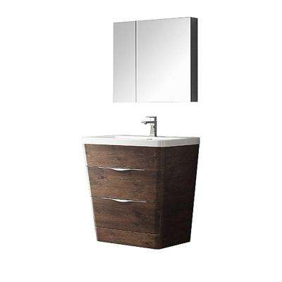 Milano 32 In. Vanity In Rosewood With Acrylic Vanity Top In White And  Medicine Cabinet
