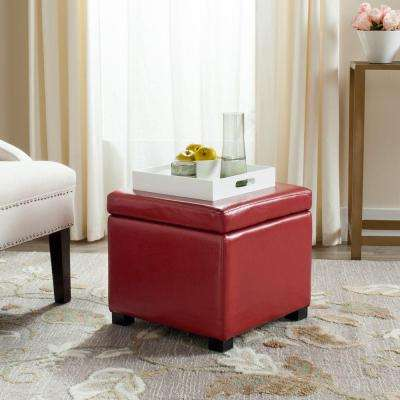 Jonathan Red Storage Ottoman