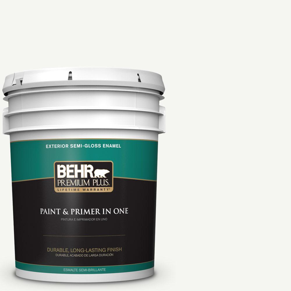 5 gal. #HDC-CT-18G Cotton Ball Semi-Gloss Enamel Exterior Paint