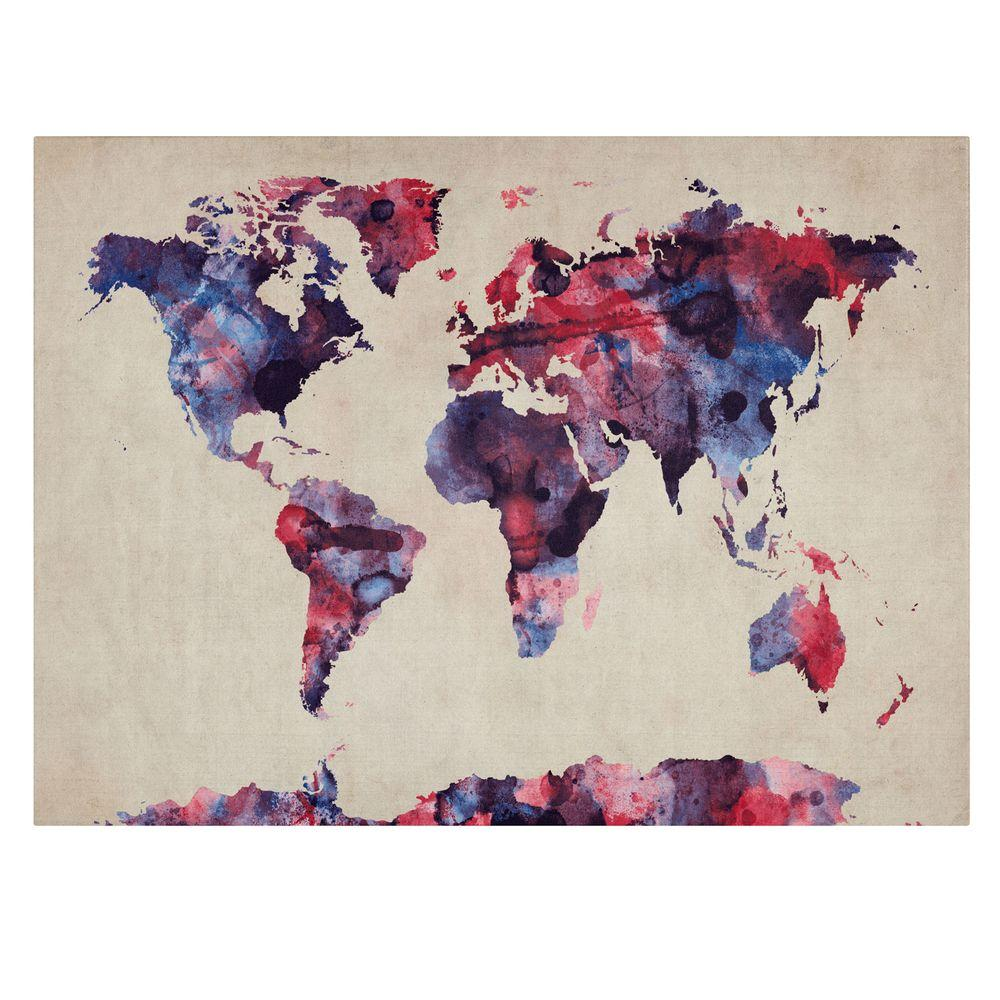 14 in. x 19 in. Watercolor Map Canvas Art