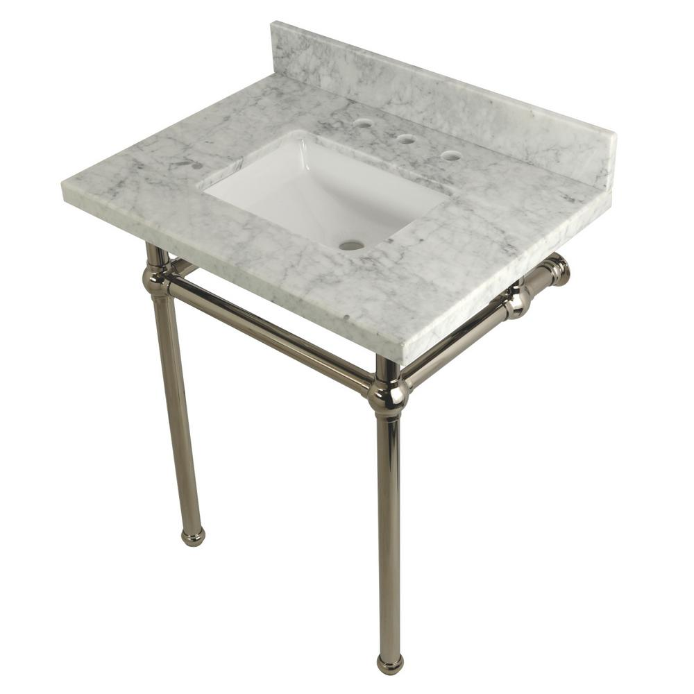Kingston Br Square Sink Washstand 30 In Console Table Carrara With Metal Legs