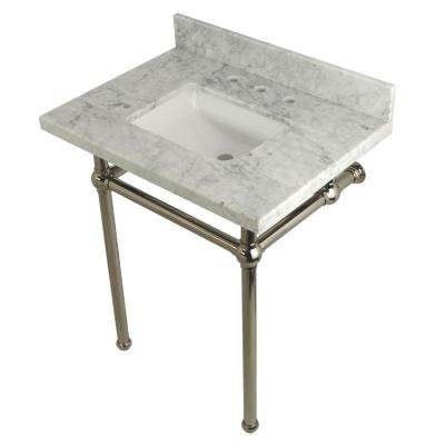 Square Sink Washstand 30 in. Console Table in Carrara with Metal Legs in Polished Nickel