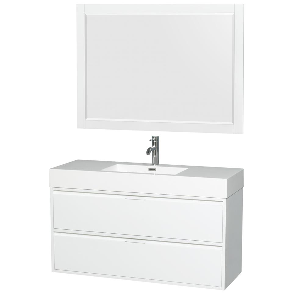 Wyndham Collection Daniella 47.3 in. W Vanity in Glossy White with Acrylic Vanity Top in White with White Basin and 46 in. Mirror