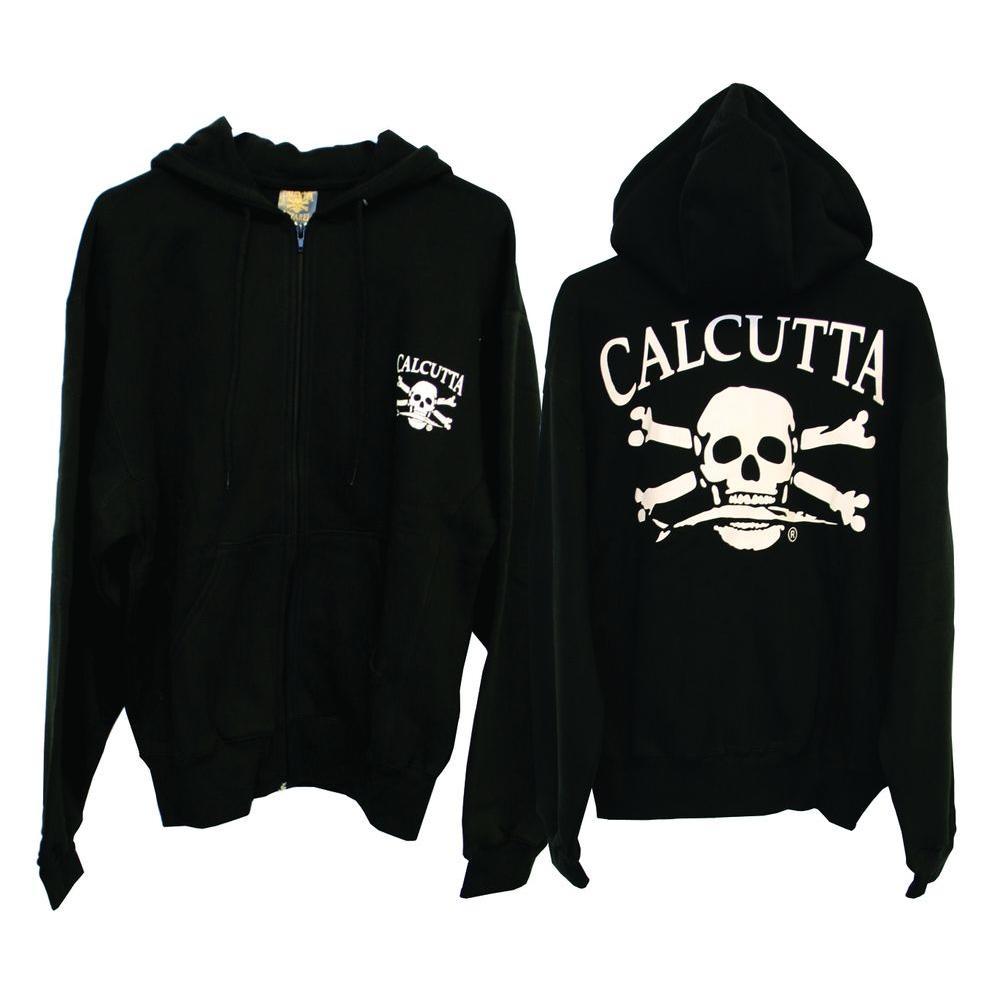 Men's Large Two Pocket Hooded Full Zip Sweatshirt in Black