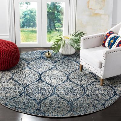 Madison Navy/Silver 9 ft. x 9 ft. Round Area Rug