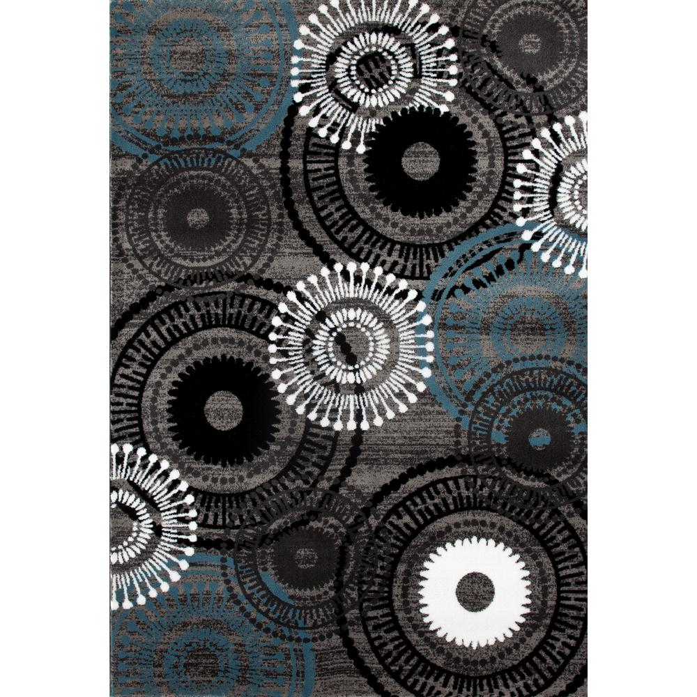 World Rug Gallery Contemporary Circles Blue Gray 6 Ft In X 9 Area