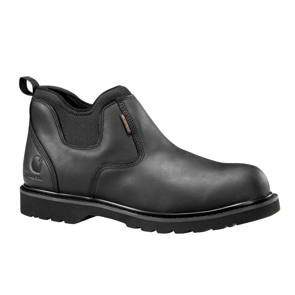 Men's 10W Black Leather/Black Neoprene Ankle Waterproof Soft Toe 4-inch Romeo Slip-On CMS4191