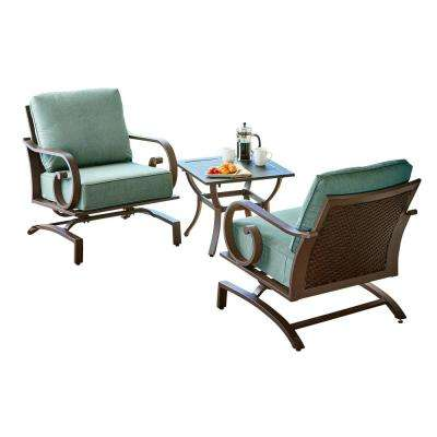Milano 3-Piece Metal Chat Outdoor Bistro Set with Teal Cushions