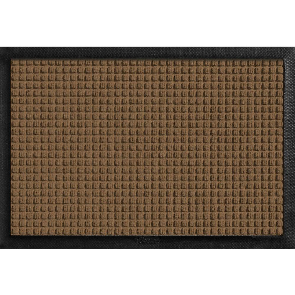 Bungalow Flooring Aqua Shield with Rubber Border Dark Brown 17.5 in. x 26.5 in. Pet Mat