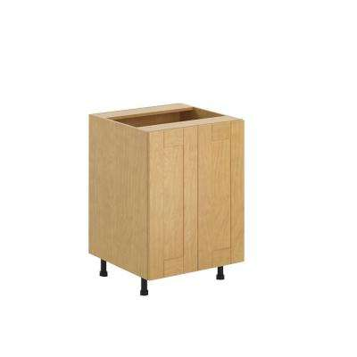 Ready to Assemble 24x34.5x24.5 in. Milano Full Height Base Cabinet in Maple Melamine and Door in Clear Varnish
