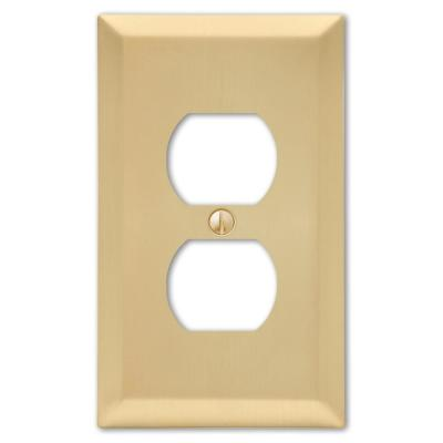 Metallic 1 Gang Duplex Steel Wall Plate - Satin Brass