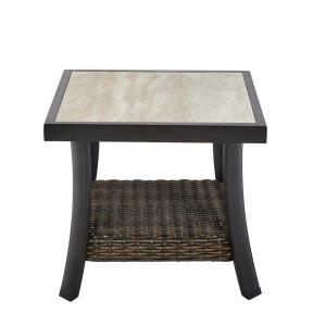 Whitfield 18 in. Square Dark Brown Metal Outdoor Side Table with Tile Top