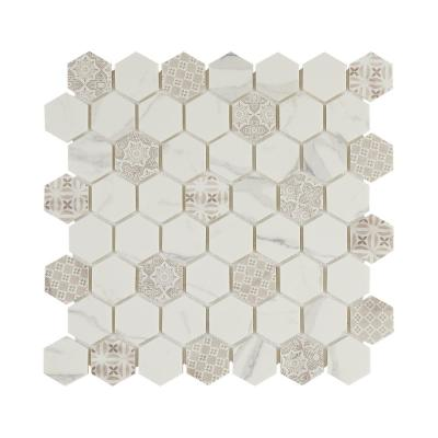Artistic Elements Carrara 12 in. x 12 in. Hex Inkjet Glazed Glass Mesh-Mounted Mosaic Tile (0.87 sq. ft./Each)