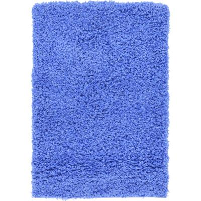 Solid Shag Periwinkle Blue 2 ft. x 3 ft. Area Rug